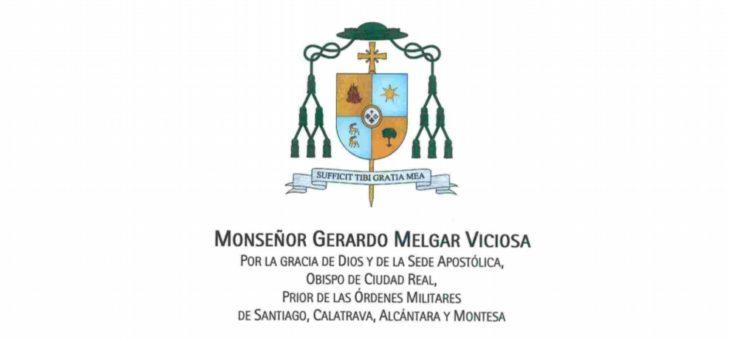 Comunicado del Obispo Diocesano de cara a la celebración del Triduo Pascual.